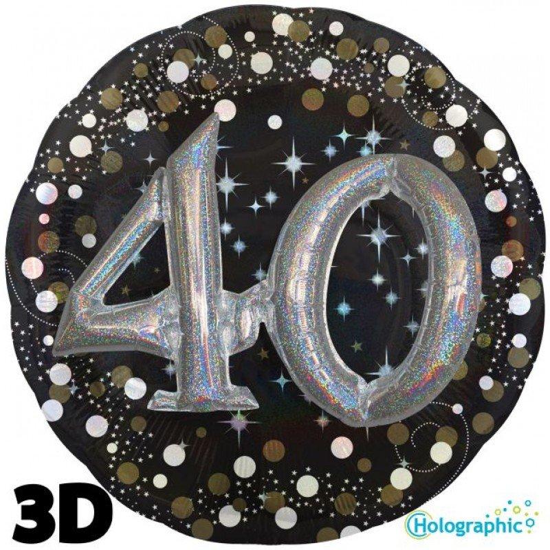 Palloncini compleanno scintille 3D 40 anni lui grande