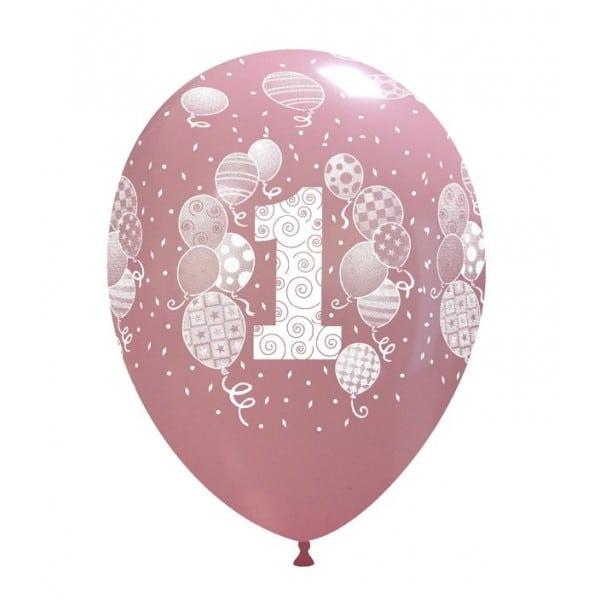 Palloncini primo compleanno stampa globo palloncini rosa