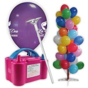 kit palloncini pubblicitari 10 – 1000 palloncini con stampa 2 lati 1000 bastoncini 1 gonfiatore elettrico espositore ad albero