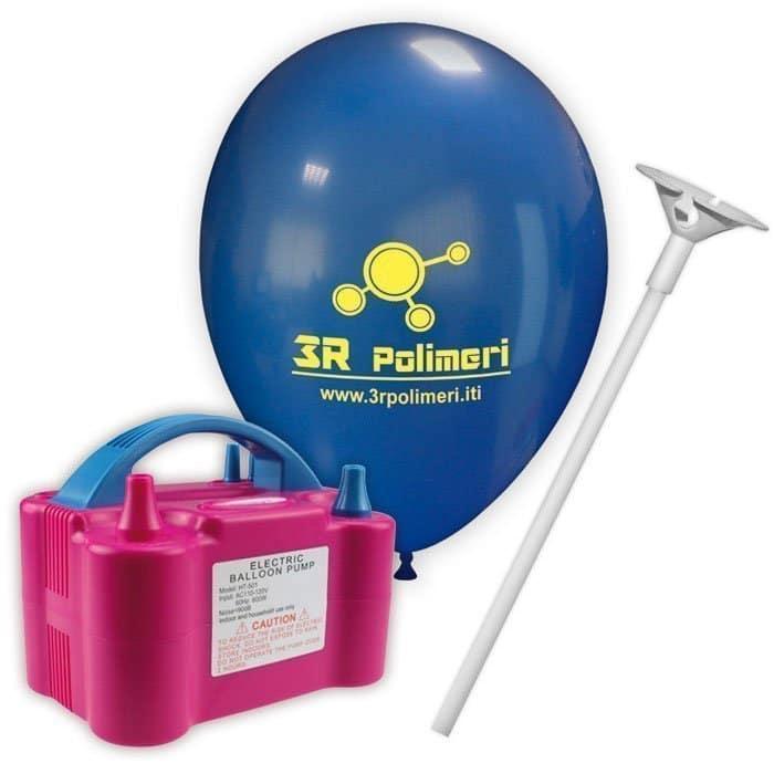 kit palloncini pubblicitari 5 – 500 palloncini con stampa 1 lato 500 bastoncini 1 gonfiatore elettrico