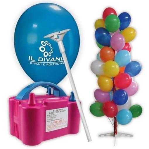 kit palloncini pubblicitari 7 – 500 palloncini con stampa 1 lato 500 bastoncini 1 gonfiatore elettrico espositore ad albero