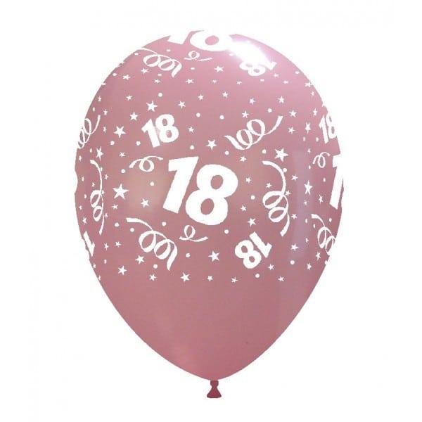 palloncini buon compleanno 18 anni stampa globo ROSA 01
