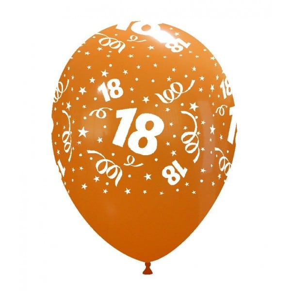 palloncini buon compleanno 18 anni stampa globo arancione