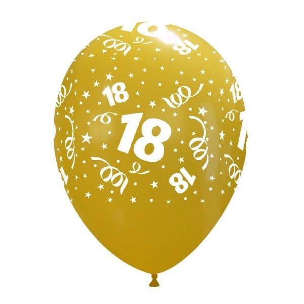 palloncini buon compleanno 18 anni stampa globo giallo scuro