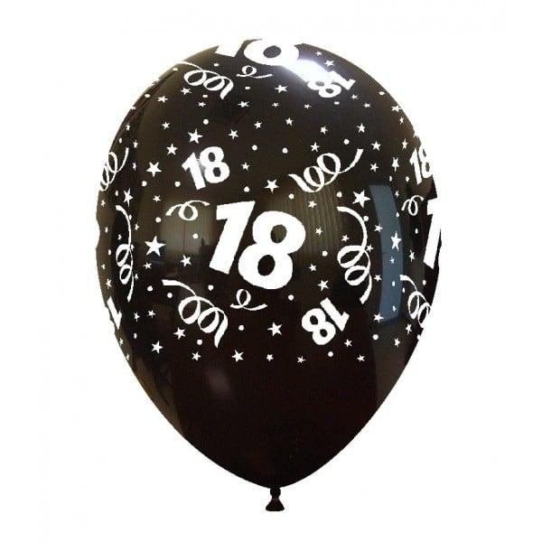 palloncini buon compleanno 18 anni stampa globo nero