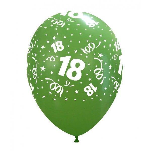 palloncini buon compleanno 18 anni stampa globo verde 08