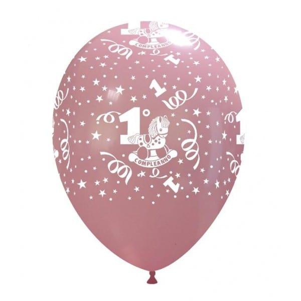palloncini primo compleanno stampa globo rosa