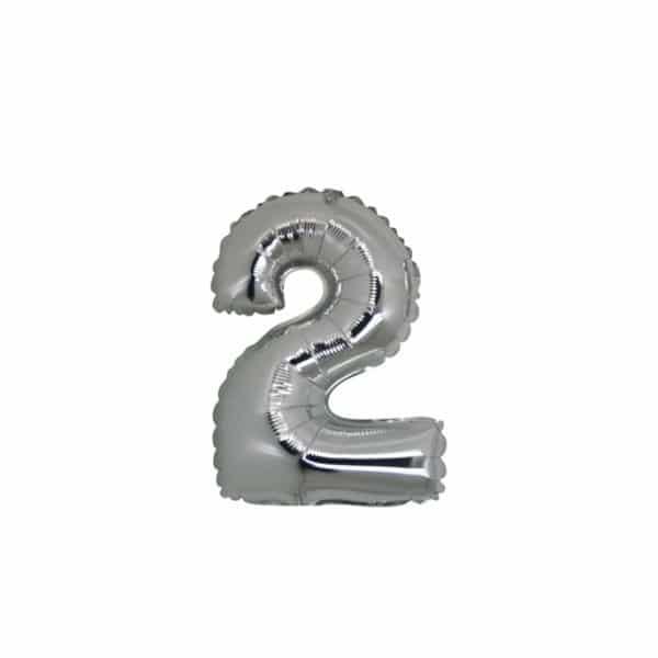 palloncino numero mylar 2 piccolo argento