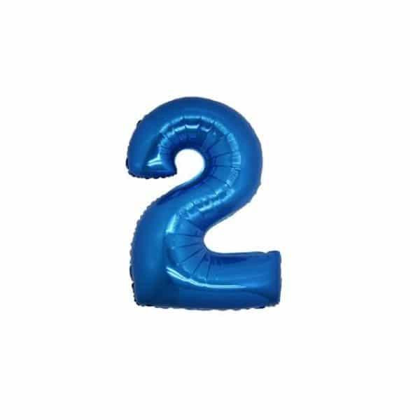 palloncino numero mylar 2 piccolo blu