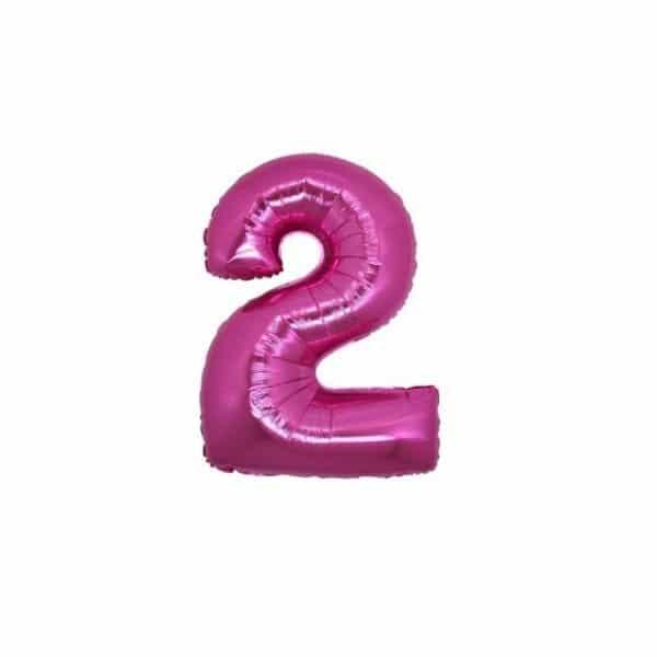 palloncino numero mylar 2 piccolo fucsia