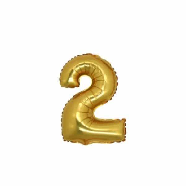 palloncino numero mylar 2 piccolo oro