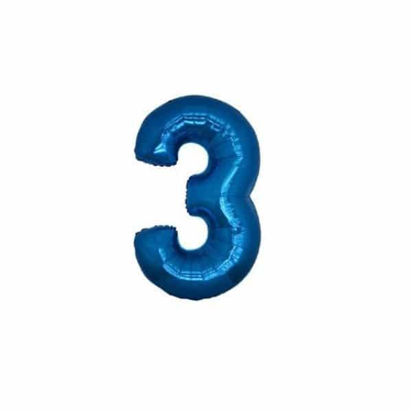 palloncino numero mylar 3 piccolo blu
