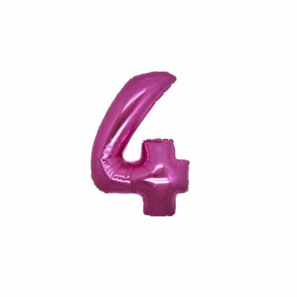 palloncino numero mylar 4 piccolo fucsia
