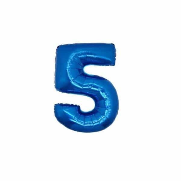 palloncino numero mylar 5 piccolo blu