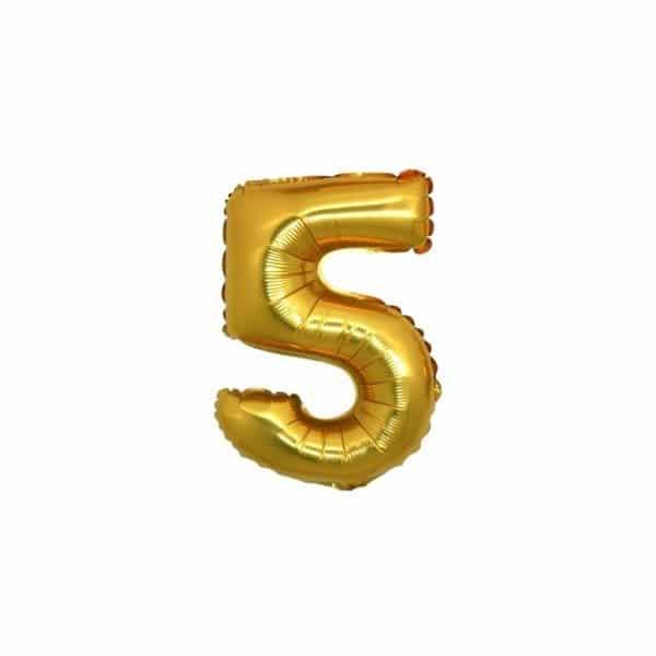 palloncino numero mylar 5 piccolo oro