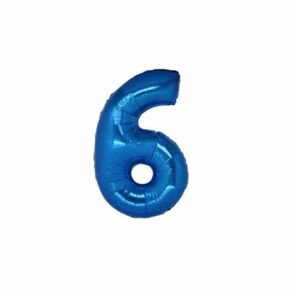 palloncino numero mylar 6 piccolo blu