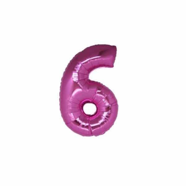 palloncino numero mylar 6 piccolo fucsia