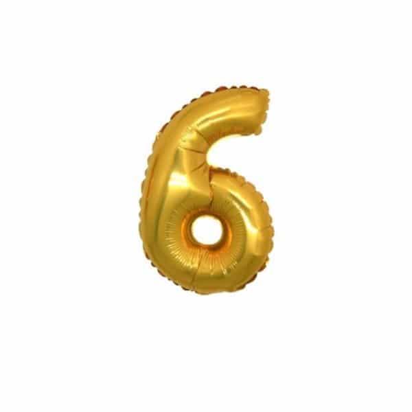 palloncino numero mylar 6 piccolo oro