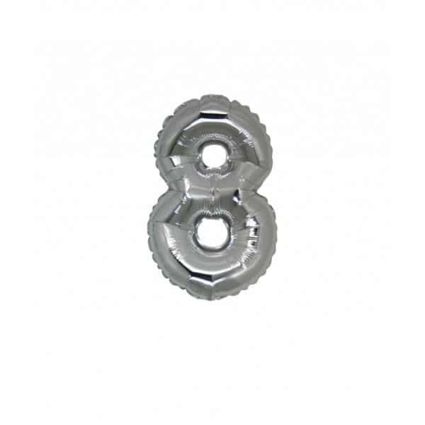 palloncino numero mylar 8 piccolo argento