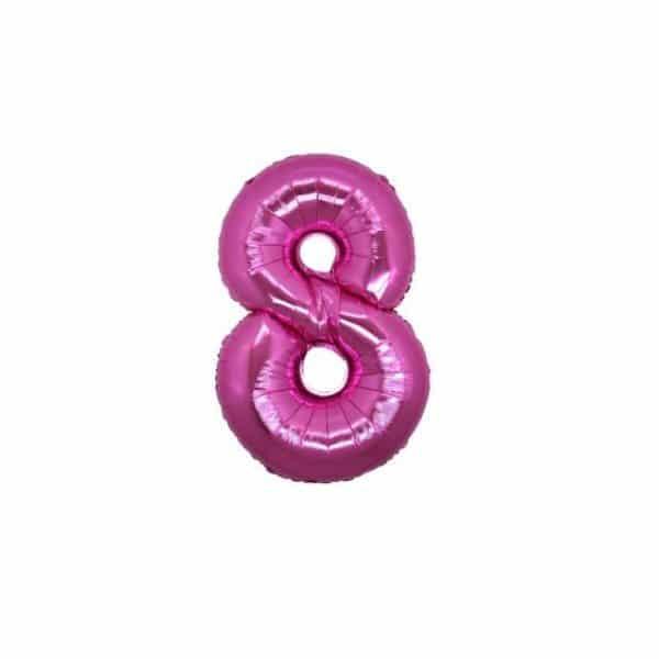 palloncino numero mylar 8 piccolo fucsia