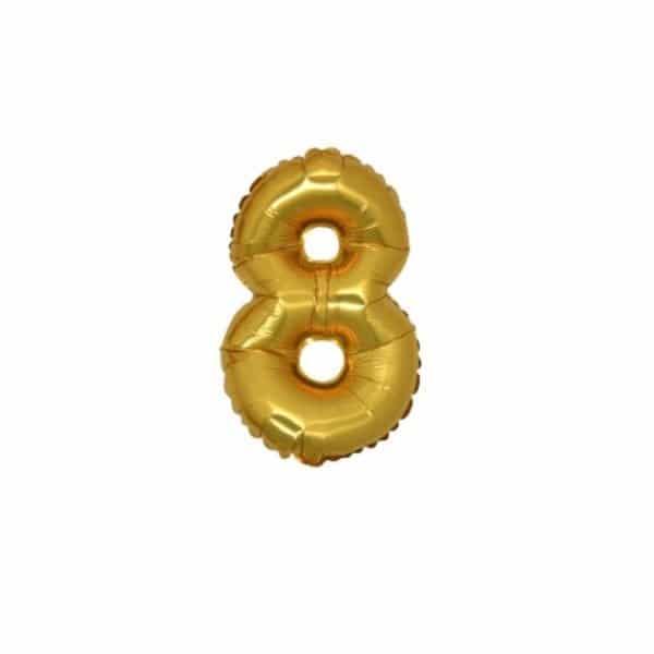 palloncino numero mylar 8 piccolo oro