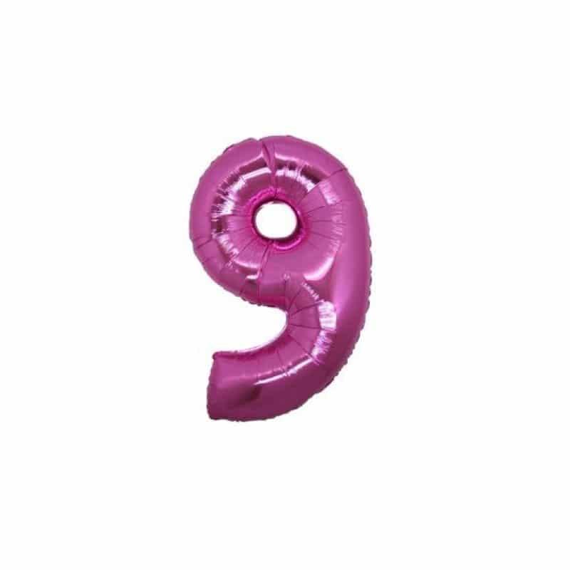 palloncino numero mylar 9 piccolo fucsia