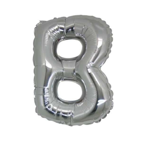 palloncini forma lettera B argento lettere medie