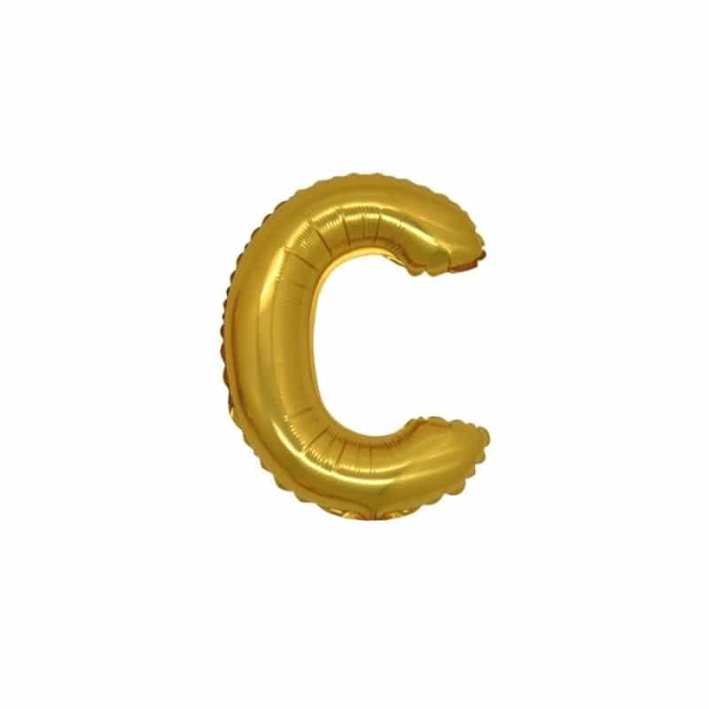 palloncini forma lettera C oro lettere piccole