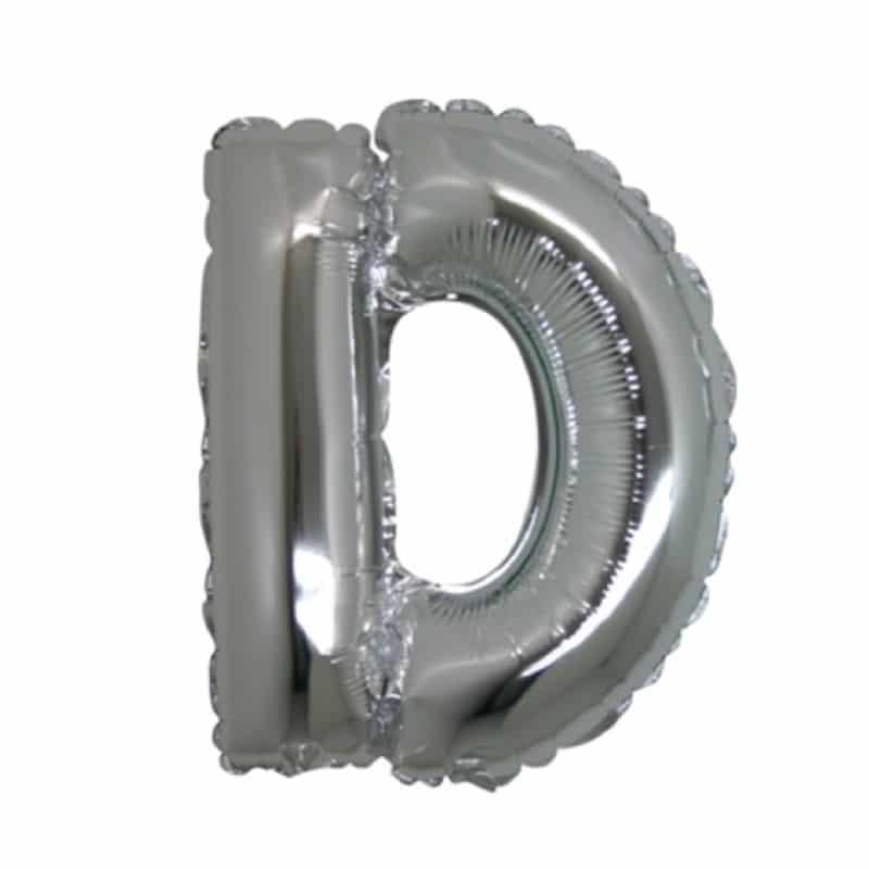 palloncini forma lettera D argento lettere medie