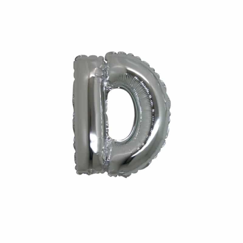 palloncini forma lettera D argento lettere piccole