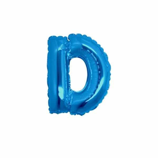 palloncini forma lettera D blu lettere piccole