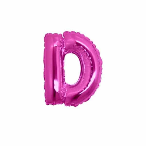 palloncini forma lettera D fucsia lettere piccole