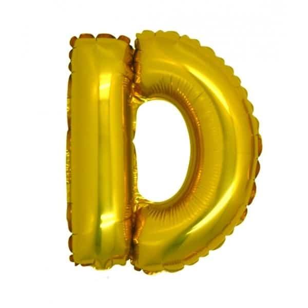 palloncini forma lettera D oro lettere medie
