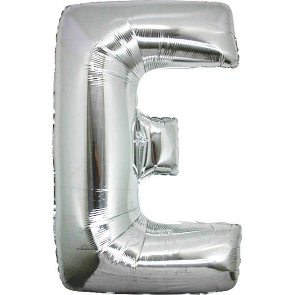 palloncini forma lettera E argento lettere giganti