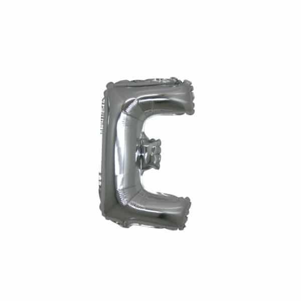 palloncini forma lettera E argento lettere piccole
