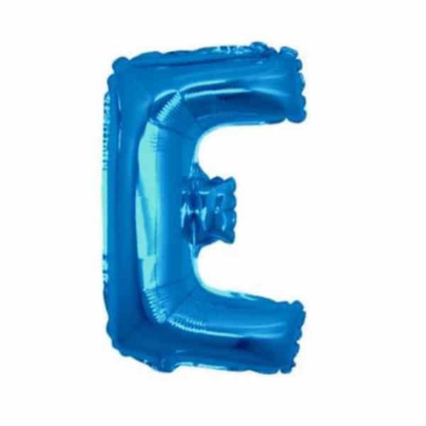palloncini forma lettera E blu lettere medie