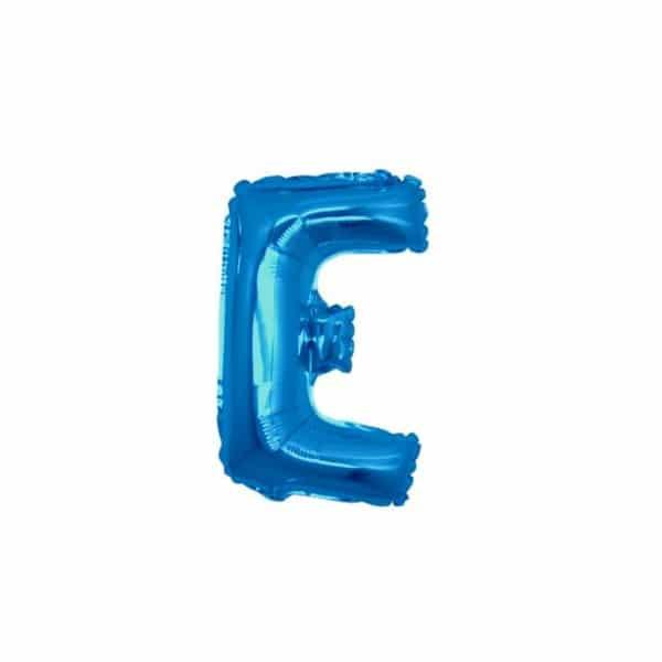 palloncini forma lettera E blu lettere piccole