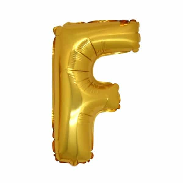 palloncini forma lettera F oro lettere medie