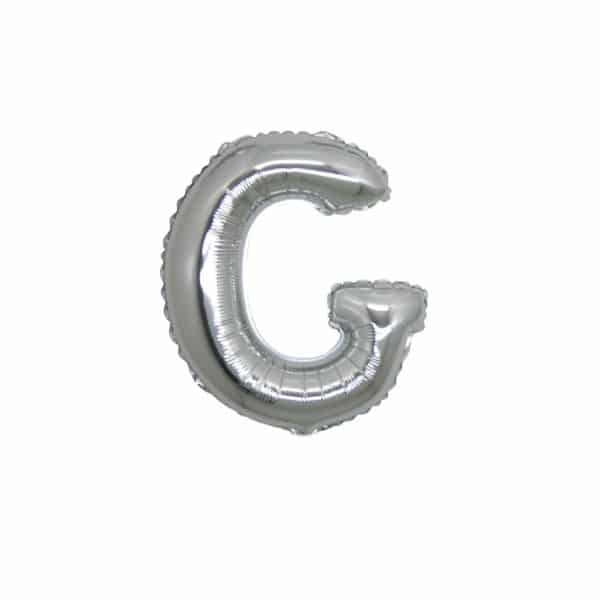 palloncini forma lettera G argento lettere piccole