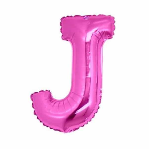 palloncini forma lettera J fucsia lettere medie