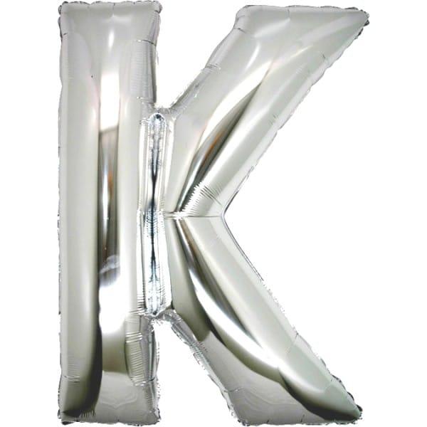 palloncini forma lettera K argento lettere giganti