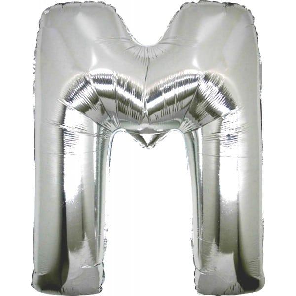 palloncini forma lettera M argento lettere giganti