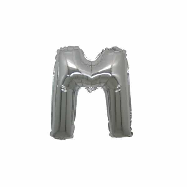 palloncini forma lettera M argento lettere piccole