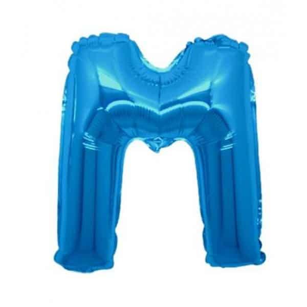 palloncini forma lettera M blu lettere medie