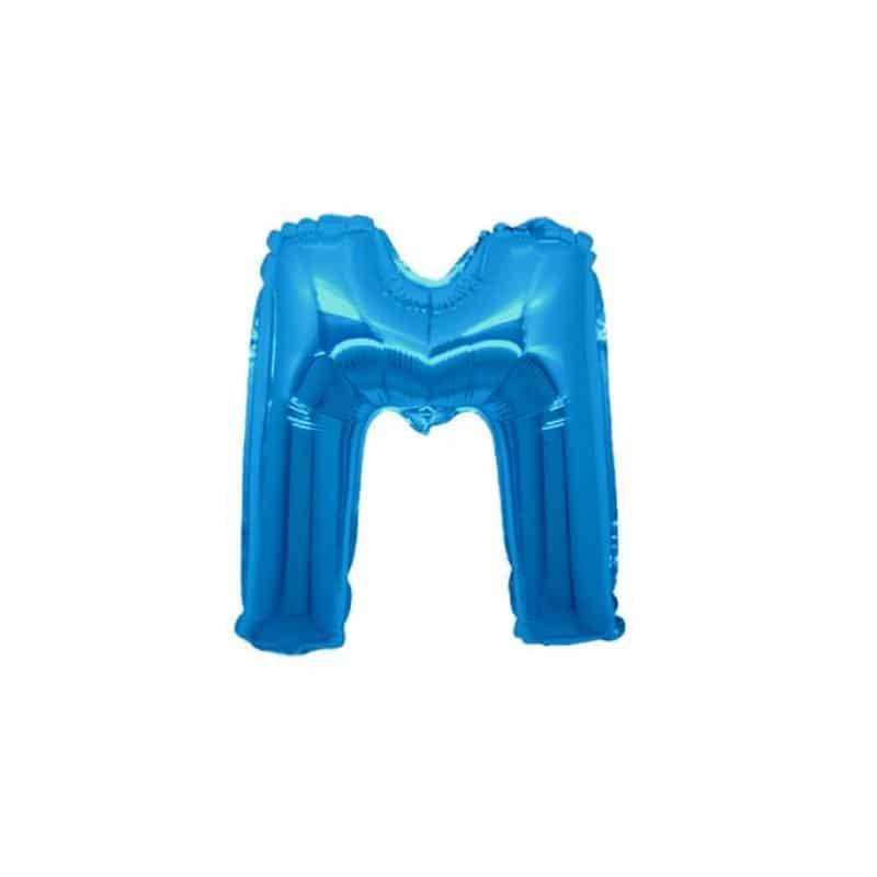 palloncini forma lettera M blu lettere piccole