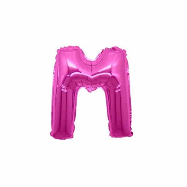 palloncini forma lettera M fucsia lettere piccole