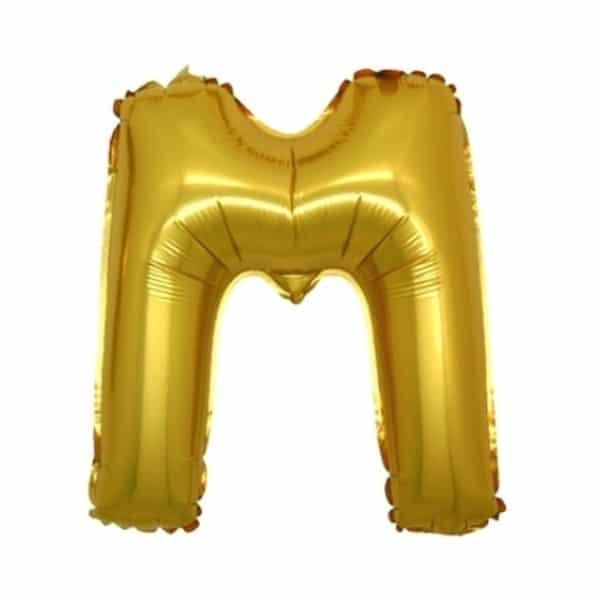 palloncini forma lettera M oro lettere medie