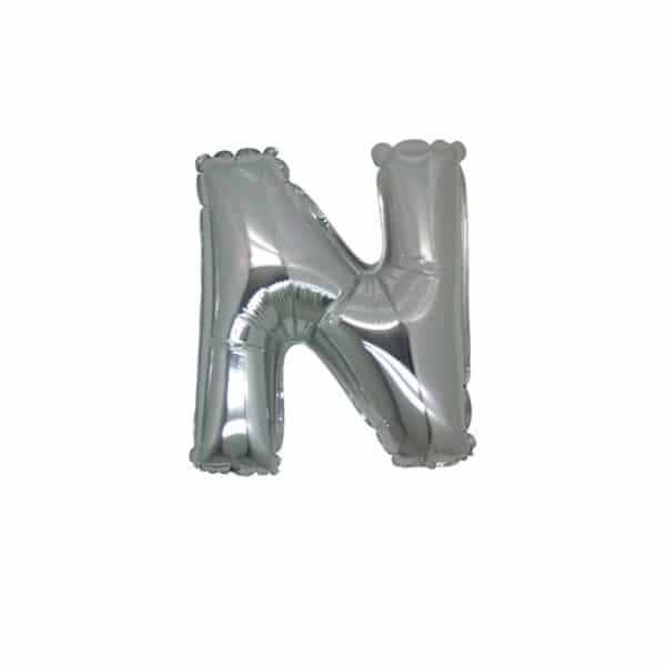 palloncini forma lettera N argento lettere piccole