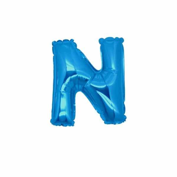 palloncini forma lettera N blu lettere piccole