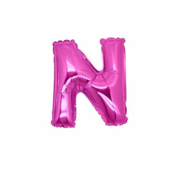 palloncini forma lettera N fucsia lettere piccole